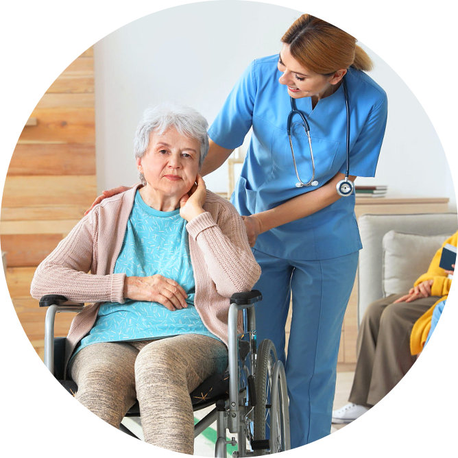 senior woman assisted by her caregiver